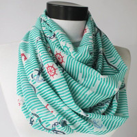 mint anchor scarf,infinity scarf, scarf, scarves, long scarf, loop scarf, gift