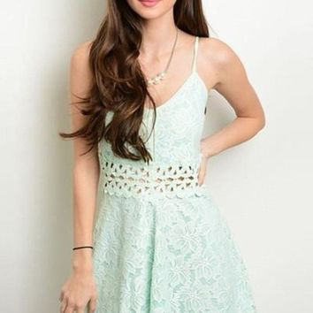 Misty Mint Lace Fit and Flare Dress - FINAL SALE!
