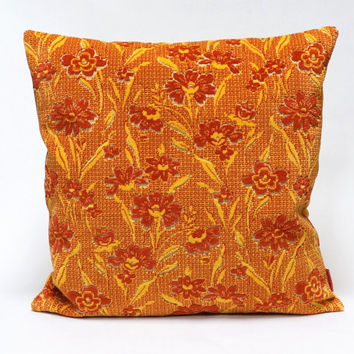 Floral velvet Pillow Cover in red and yellow - Handmade with Love from vintage upholstery fabric.
