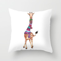 Cold Outside - cute giraffe illustration Throw Pillow by Perrin Le Feuvre
