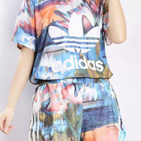 """wanelu : """"Adidas"""" Fashion Casual Multicolor Clover Letter Floral Print Short Sleeve Sweater Set Two-Piece Sportswear"""