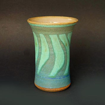 Ceramic vase, tall vase, turquoise vase, blue vase, green vase, pottery vase, handmade, high fired