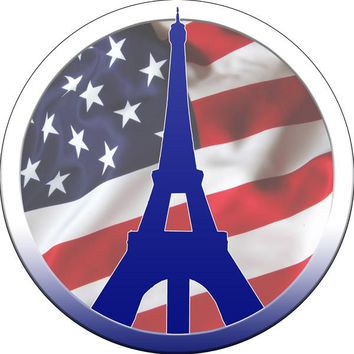 "US Flag Eiffel Tower Military Reproduction Sign. 14""x14"" Round Metal"