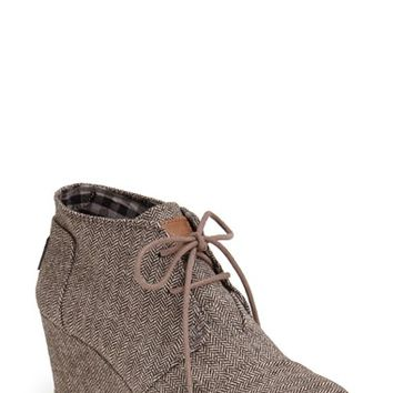 Women's TOMS 'Desert' Herringbone Wedge Bootie