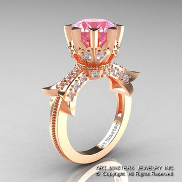 Modern Vintage 14K Rose Gold 3.0 Ct Light Pink Sapphire Diamond Solitaire Engagement Ring R253-14KRGDLPS