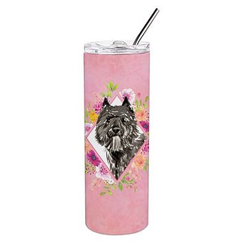 Bouvier des Flandres Pink Flowers Double Walled Stainless Steel 20 oz Skinny Tumbler CK4256TBL20