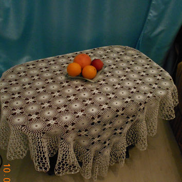 soft white tablecloth crochet, lace, delicate tablecloth, home decor