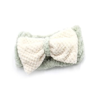 Women's Cosmetic Headband, Light Green with Gingham Style Bow, by MinxNY