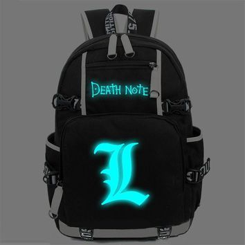 Japanese Anime Bag NEW fashion  Death Note Large Oxford Luminous Printing Backpack women men Shoulder Bag Boys Girls Travel Laptop Book Bags AT_59_4