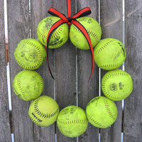 Softball Love Wreath yellow balls - no hat no letter