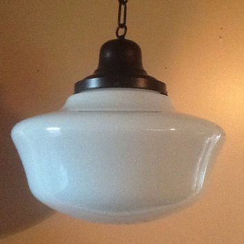 High Quality Antique Large Hanging Church Industrial Or School House Pendant Light  Fixture 1920   1930s Milk Glass Good Looking