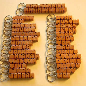 25 Wood Name Keychains - Any Names Carved to Order
