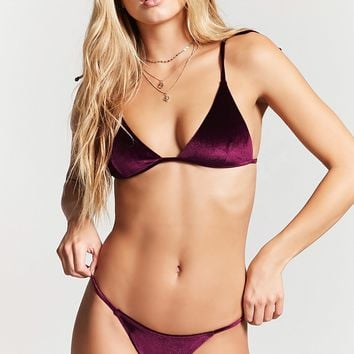 Velvet High-Cut Bikini Bottoms