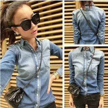 Fashion Women Slim Gradient Color Long-sleeve Denim Shirts Female Jeans Blouse Outwear LSP8101