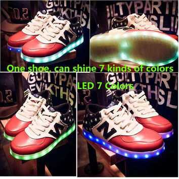 Korean couple luminous shoes USB charging fluorescent LED light colorful shoes for men and women casual shoes flash = 1929661764