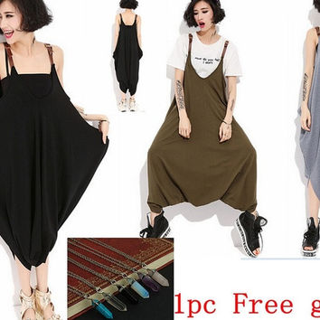 2015 Summer Women sexy Harem Hip Hop dance pant loose trousers sweatpants one piece dress Plus strappy sundress one size+free gift (necklace) = 1704208324