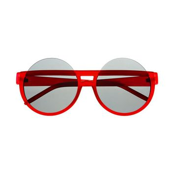 Large Rubberized Half Frame Womens Round Sunglasses R55