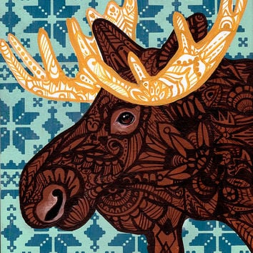 Moose Zentangle Art Print
