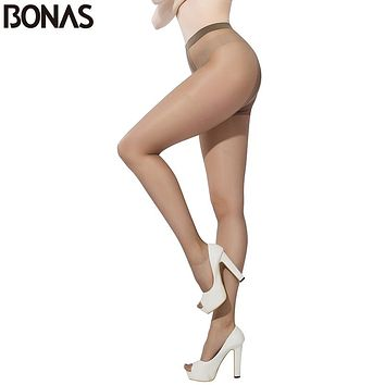 BONAS Resistant Pantyhose For Women T Crotch Skin Nylon Pantyhose Sexy Slim Hosiery Cotton Female Long Pants