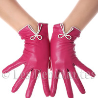 Pink Classic Bow Leather Gloves