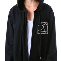 Long Clothing Icon Zip Up Hoodie Black One
