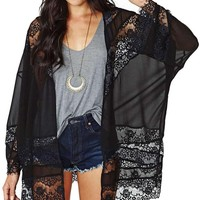 SUNNOW Woman Sheer Tassel Chiffon Loose Boho Sleeve Cardigan Kimono Blouse Coat