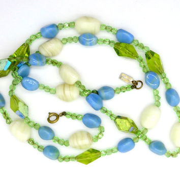 Vintage Hattie Carnegie Glass Bead Necklace, Blue, Green, Cream, 29 inch Length