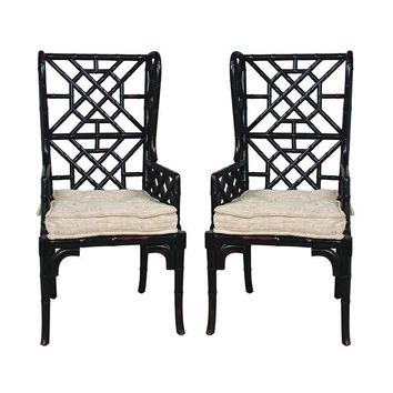 Bamboo Wing Back Chair Black (Set of 2)
