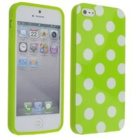 Cute Green White Wave Dots Point Soft Silicone Case Cover for iPhone 5