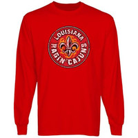 Louisiana-Lafayette Ragin Cajuns Distressed Primary Long Sleeve T-Shirt - Vermillion