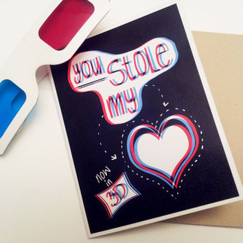 i love you card with 3D glasses - romantic valentines day card for boyfriend husband - anniversary card for him for her