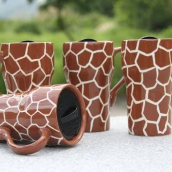 "GIRAFFE Ceramic Travel Mug 6-1/4""H, 81698 by ACK"