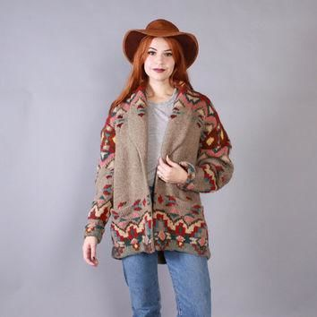 Vintage RALPH LAUREN CARDIGAN / 1990s Novelty Native American Shawl Collar Sweater Coa