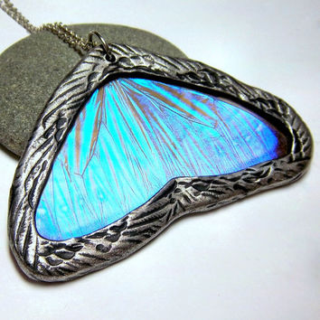 Glass Real Butterfly Wing Necklace - Blue Morpho