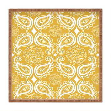 Heather Dutton Plush Paisley Goldenrod Square Tray