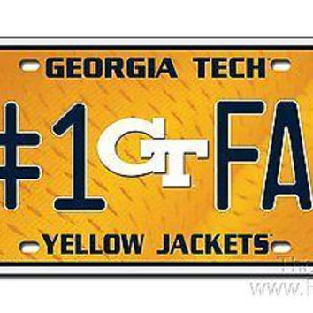 Georgia Tech Yellow Jackets #1 Fan 110301 Metal Tag License Plate University of
