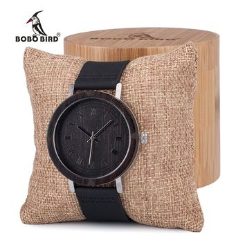 BOBO BIRD Mens Wooden Bezel Watches Vintage Light Style Wood Wrist Watches With Leather Band In Wood case relojes hombre oem