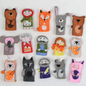 Small handmade bright felt puppet toy for children's home theater