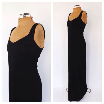 Vintage 1970s MINIMALIST Black Maxi Gown 70s Edith Flagg Long Dress Size 8 Sexy Slinky Fitted Gown Glam Boho Beach Dress New Years Eve Dress