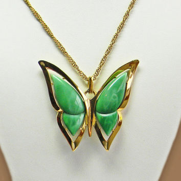 Crown Trifari Butterfly Necklace Green Lucite Gold Tone Pendant