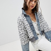 Free People Quilted Ditsy Denim Jacket at asos.com