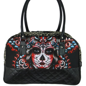 Liquor Brand Butterfly Day of the Dead Tattoo Rockabilly Punk Big Handbag Purse