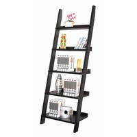 Exhibiting Modern Ladder Bookcase With Five Shelves, Black