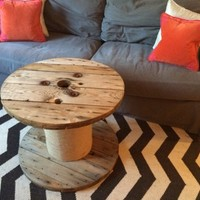 Spool coffee table with jute center