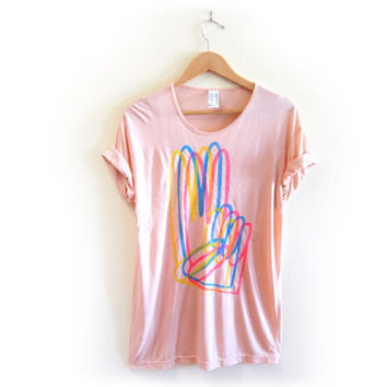 Peace Sign Hand CMYK STENCILED Animal Series - Viscose Scoop Neck Oversized Tee in Peach - S M L XL