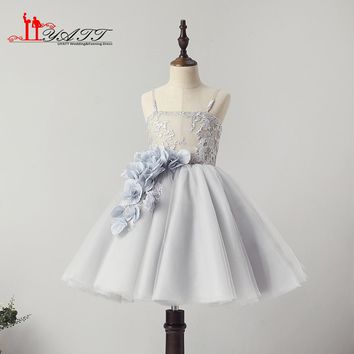 LIYATT 2018 New Collection Amazing Cute Grey Lace Puffy Ball Gown Spaghetti Straps Flower Girl Dresses