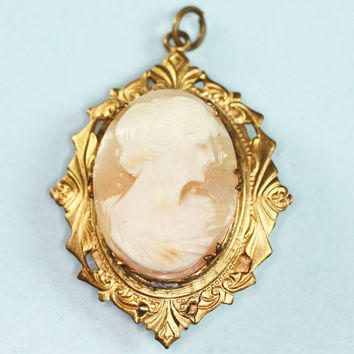 Carved Shell Cameo Locket Pendant Ornate Frame Vintage