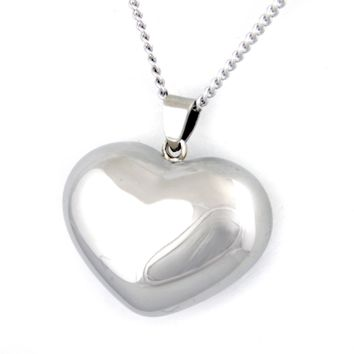 Polished Puffed Heart Pendant Stainless Steel Necklace