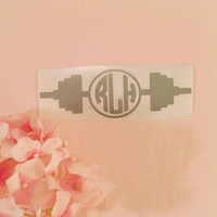 Weights Monogram Decal - Weight Lifting Decal - Crossfit Decal - Workout Decal - Laptop Decal - Car Decal - Exercise Decal - Girls Who Lift