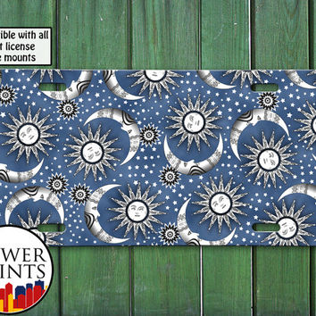 Blue Gray Sun Stars And Moon Pattern Space Cute Design For Front License Plate Car Tag One Size Fits All Vehicle Custom